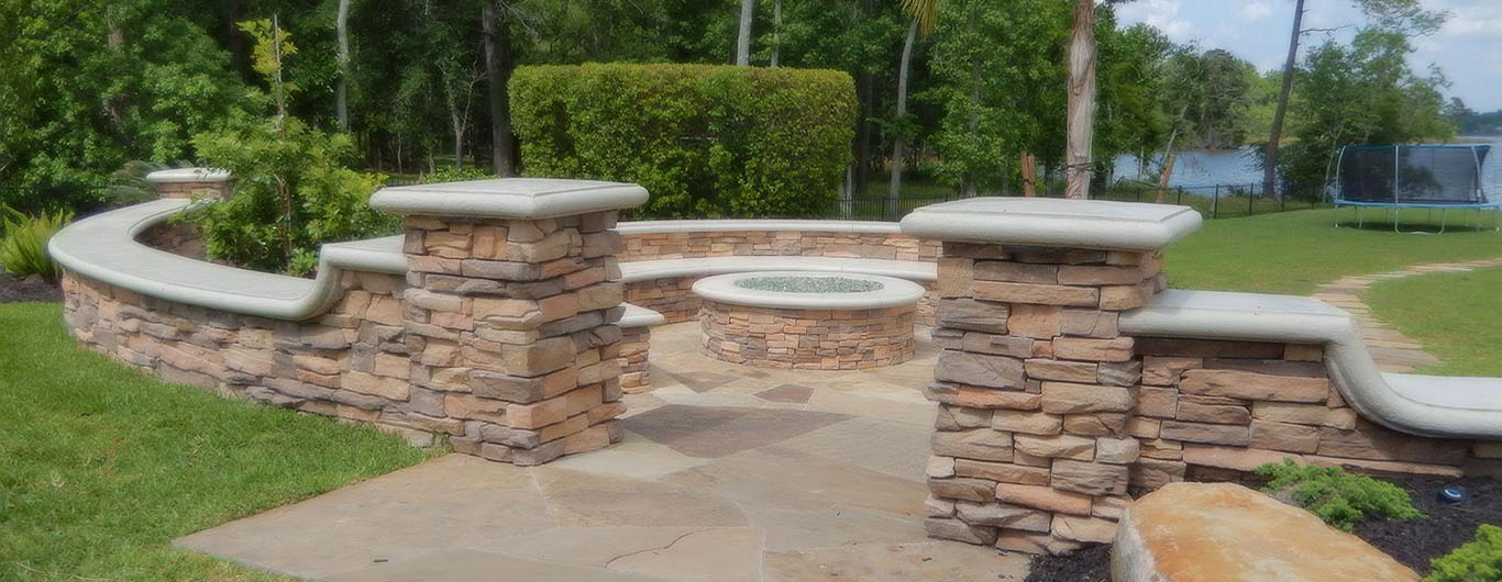 YardBirds Landscape Design and Installation Services, Firepits, Stone Gas Firepits.